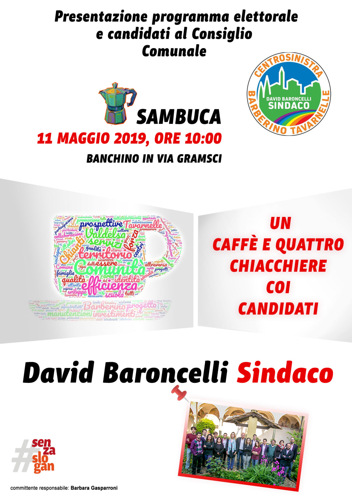 volantino per caffè con i candidati
